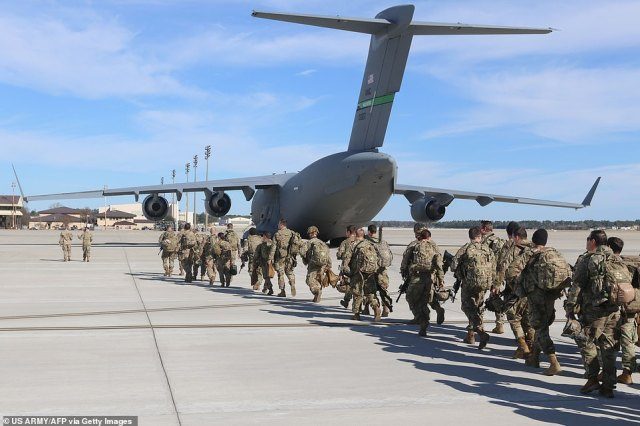 The first wave of hundreds of U.S. Army paratroopers from a rapid reaction force has deployed to Kuwait