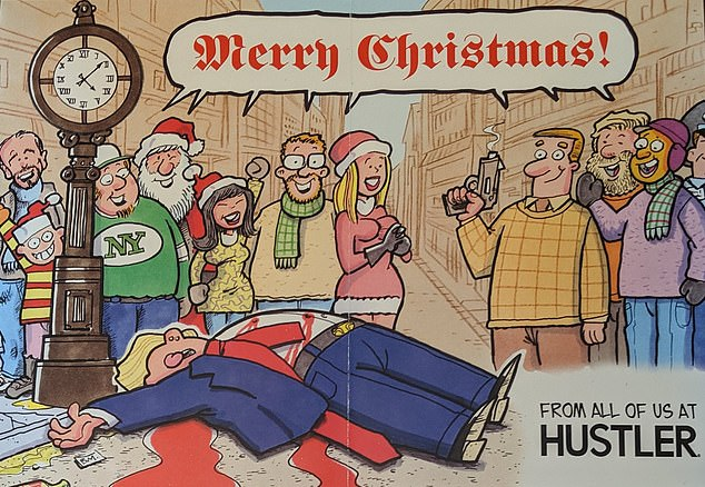 The Christmas card was sent to several members of Congress in the US by Hustler magazine