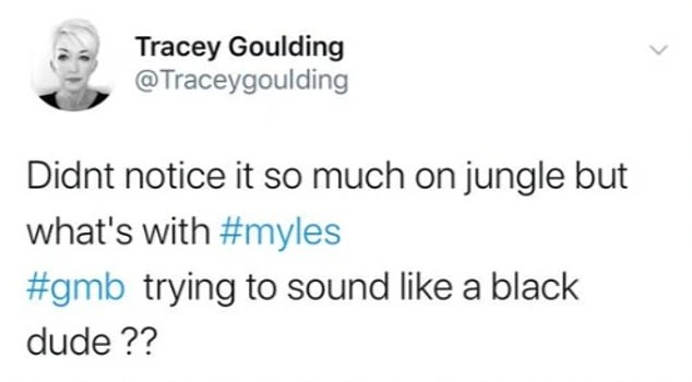 Upsetting: It all started when Tracey shared this tweet after watching a TV appearance with Myles on GMB and he hit back