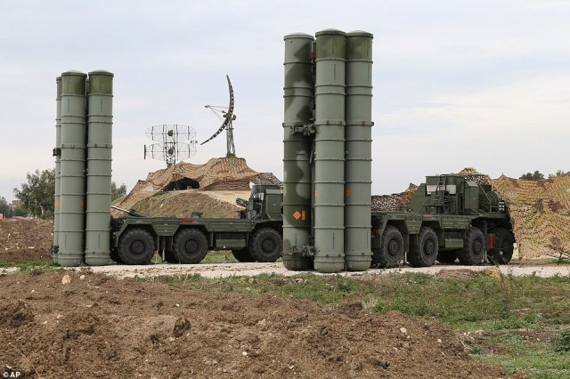 Russia's latest S400 anti-aircraft systems in Syria, which could be used against American jets and bombers in the event the crisis spirals into a wider war