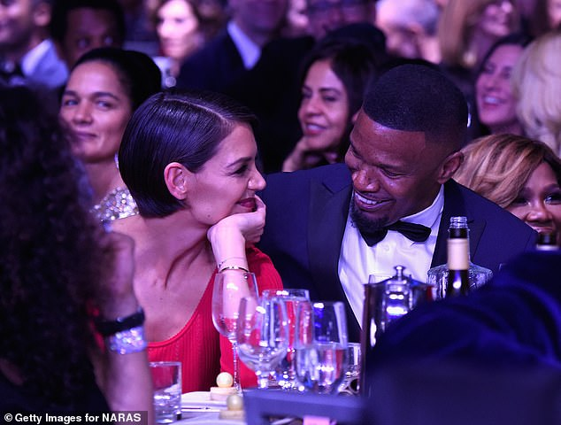 Shy lovers: The pair sat closely during the 2018 Gala, smiling at one another throughout the ceremony