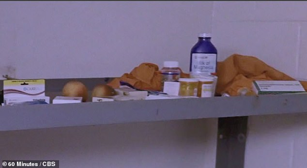 The photos from inside the cell also showed multiple prescription pill bottles and food on the top bunk