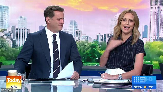 'Karl will be right at home': Allison Langdon (right) took a cheeky stab at Today Show co-host Karl Stefanovic (left) while discussing stars drinking at the Golden Globes on Monday
