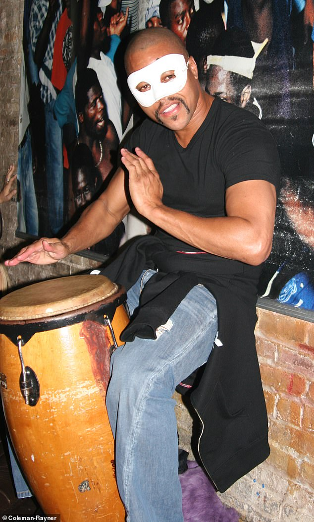 Gooding is seen playing the bongos at a Halloween party at the PM Lounge in Manhattan in 2006