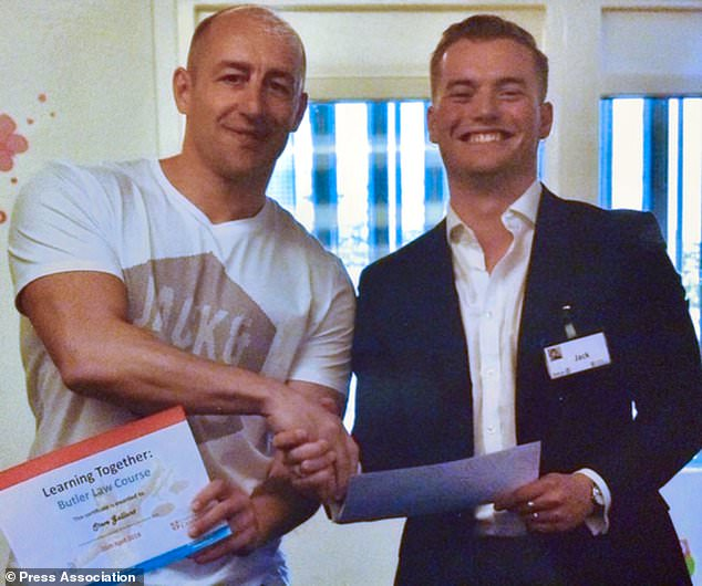 Steve Gallant (left) with London Bridge terror attack victim Jack Merritt pictured during a Learning Together training course in April 2018