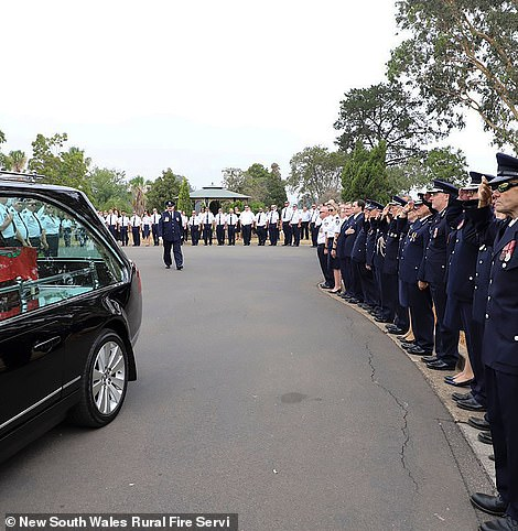Hewas also farewelled by hundreds of fellow RFS volunteers at a moving service on January 2