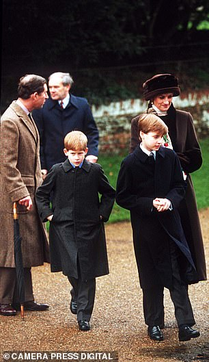 Prince Charles, Princess Diana and their children on Christmas Day in 1994