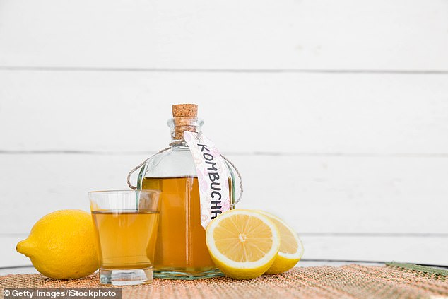 Drinks such a Kombucha (pictured) and kefir which are good for the gut are set to soar in sales with year
