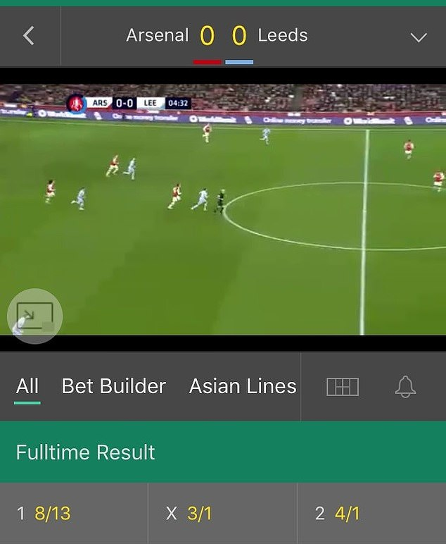 To watch the action on Bet365's site, fans had to place a wager before kick-off or open an account with a £5 deposit