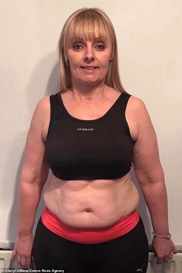 Cheryl Gillings, 47, a carer from Southend-on-Sea, Essex, dropped from 12st 4lbs to 9st 5lbs after swapping boozy weekends for bicep workouts. Pictured, Cheryl before her weight loss