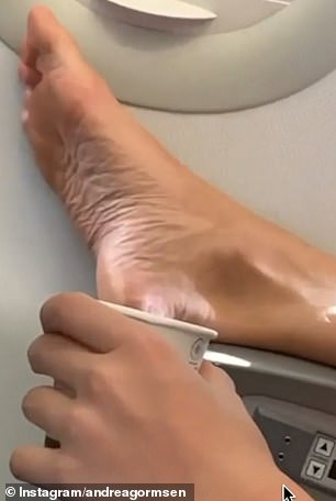 Footage posted to an Instagram account dedicated to revealing passengers' antisocial behaviour, shows a close-up of the foot lying on an armrest