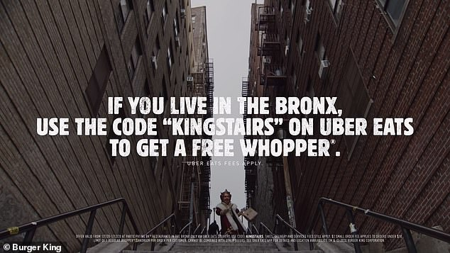 "It concludes: 'But don't worry. If you live in the Bronx, use the code ""KINGSTAIRS"" on Uber Eats to get a free Whopper'"