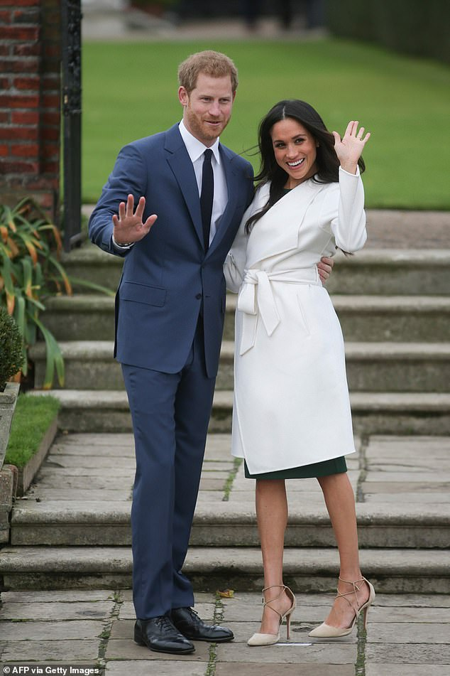 Speculation: As co-host Allison Langdon and anchor Brett McLeod speculated that their decision to step back from public duty and live between the UK and North America may be to escape the press, Karl interrupted. Pictured: Prince Harry and Meghan Markle in 2017