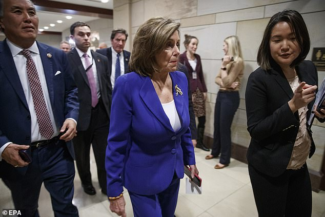 House Speaker Nancy Pelosi arrives at a closed door briefing with top Trump administration officials that Democrats left feeling unconvinced