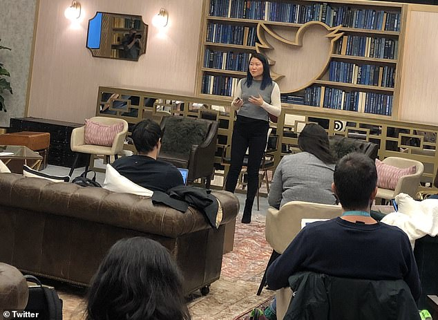 Suzanne Xie (pictured) spoke at the event and revealed'conversation participants'. The social media giant will gather what it learned from the experiment and use them in the global launch that is set for later this year