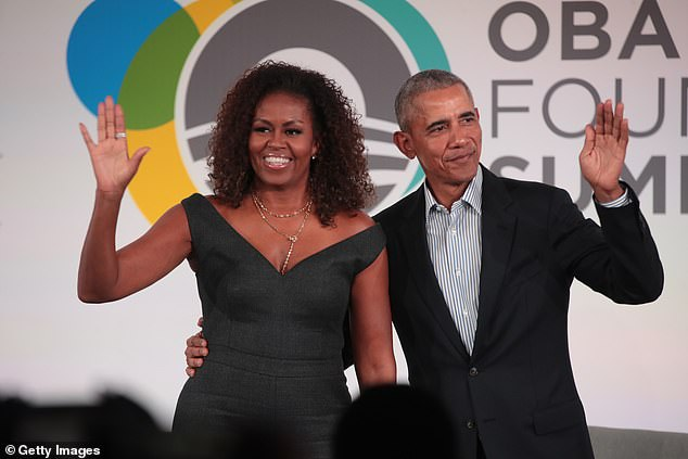 Barack and Michelle Obama (pictured in Chicago last October) scored a reported $65million advance as part of their joint book deal, and it's possible the royals can bring in even more