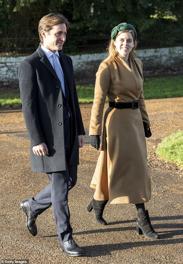 Edoardo, 37, was given the honour of being invited to join the Royal Family for church on Christmas Day at Sandringham, pictured, despite not yet being married to Beatrice