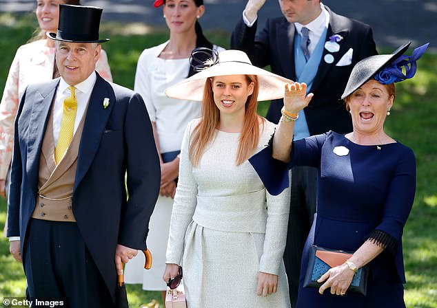 Beatrice has seen her happiness overshadowed by the ongoing scandal surrounding her father, Prince Andrew. Pictured, Beatrice with Andrew and her mother at Royal Ascot in 2018