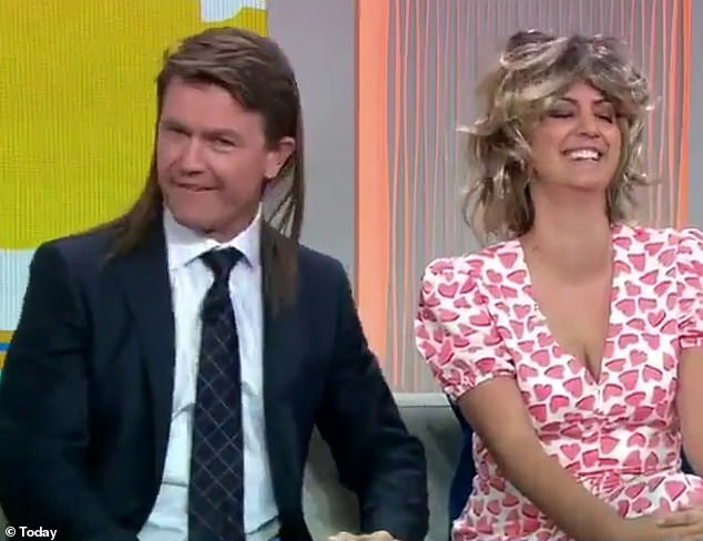 Is that you, Billy Ray Cyrus? In a lighthearted moment for the newly-assembled breakfast team, Allison Langdon poked fun at sports reporter Alex Cullen's (left) eerily realistic 'do