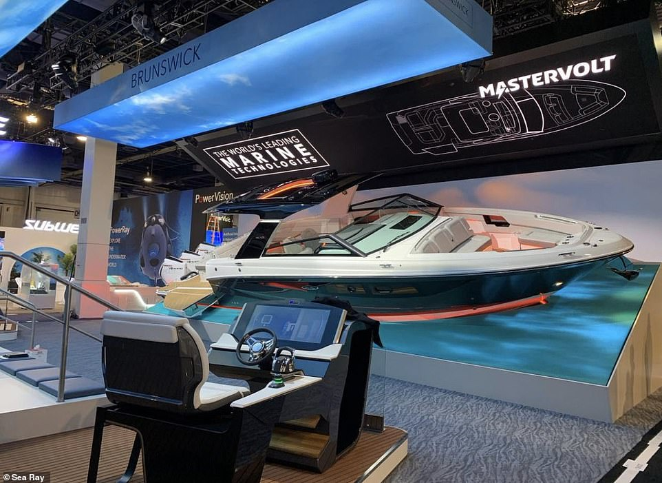 Then the first boat appeared at CES, which is a 40-foot vessel equip with auto-docking capabilities and allows passengers to communicate with it using gestures and voice commands through a new 'Future Helm'. The Sea Ray SLX-R 400eseats 22 people and comes with a lithium battery pack that can power the craft's high-performance engines in order to save energy
