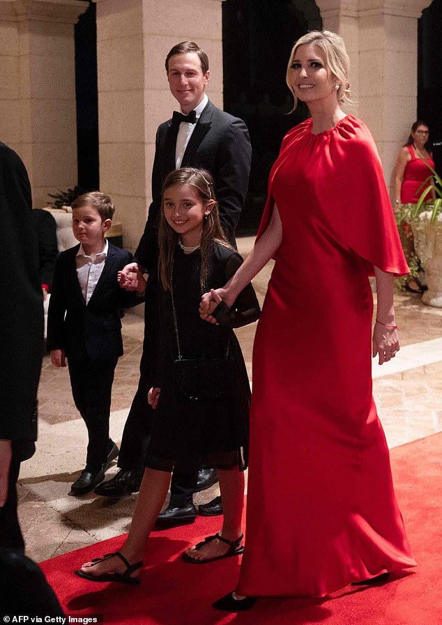 Family fun: Ivanka and Jared celebrated New Year's Eve with their eldest children Arabella, eight, and Joseph, six, at her father's Mar-a-Lago estate in Palm Beach, Florida