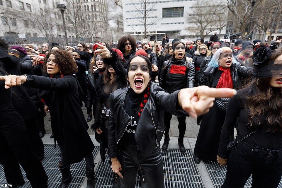 The some sixty demonstrators, affiliated with the Chilean feminist organization Las Tesis, performed 'A Rapist in Your Path', a Chilean feminist performance piece that protests violence against women
