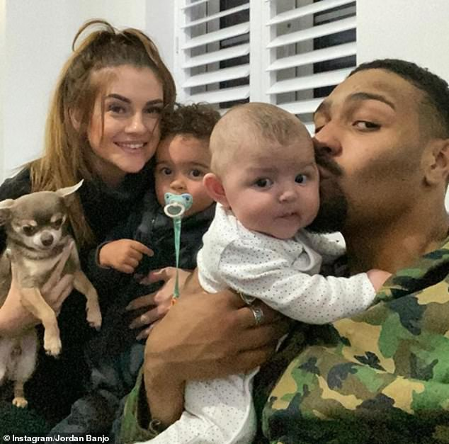Jordan said: 'When I'm sat at home and you're telling me really horrible stuff like 'your kids are so ugly, they should die'... it's crazy stuff, mad' (pictured withCassius, three, Mimi, 20 months, and fiancée Naomi Courts last year)