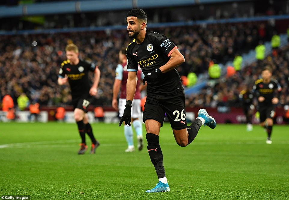 The former Leicester City player wheeled away in celebration as the visitors dominated the first half at Villa Park on Sunday