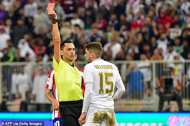 Valverde received a red card for the challenge, but Atletico Madrid couldn't capitalise on it