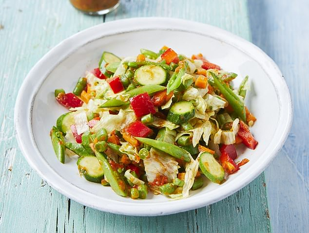 Chopped veggie salad with roasted red pepper dressing