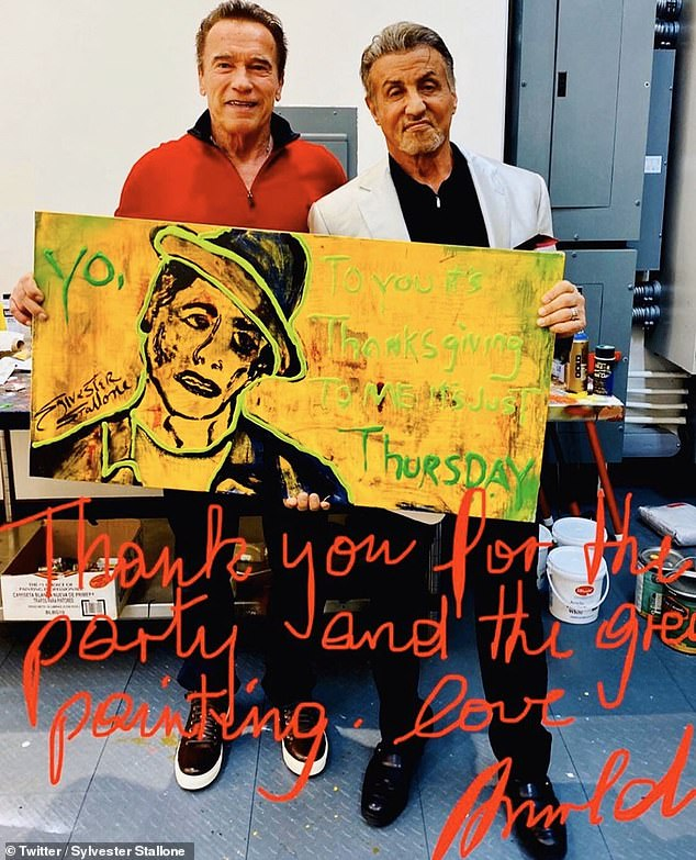 'Arnold [Schwarzenegger] was over last night for a Christmas Eve get together and I gave him this paining that I am proud to say is going to be auctioned off at his upcoming charity event in Europe,' Stallone said in a tweet