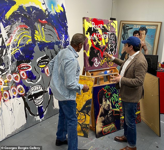 Bergès flew to Los Angeles and spent two hours at Stallone's private art studio at his $10million Beverly Hills mansion on Tuesday where the pair reviewed the artwork