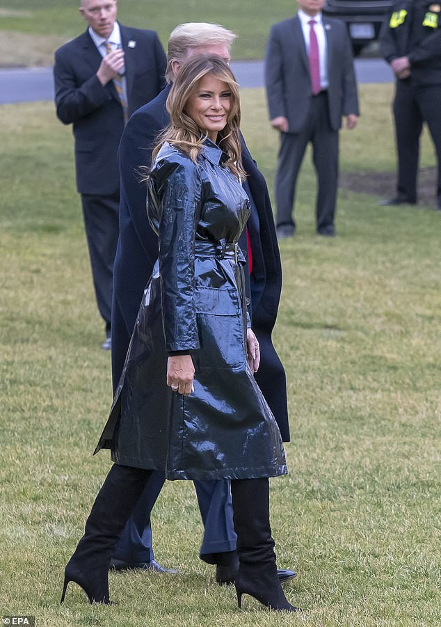 Statement piece:The first lady looked sleek in her $2,000 belted leather coat byScanlan Theodore