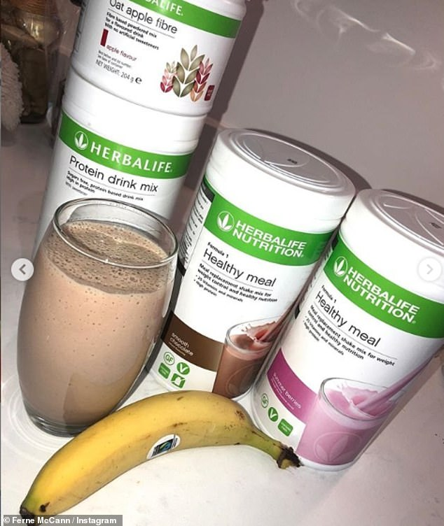 Yum?Ferne, who is an ambassador for dieting scheme Herbalife, revealed she uses meal replacement shakes from the dieting giant