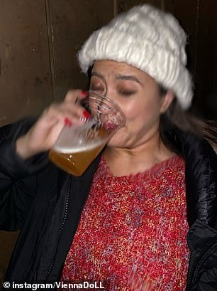 Pictured: Vienna pictured guzzling a second drink