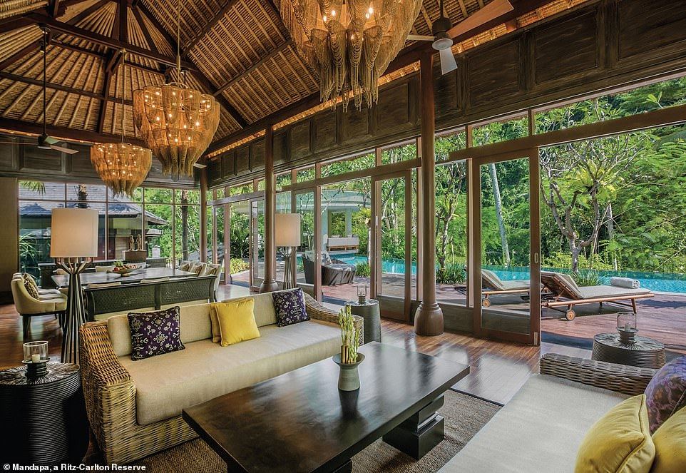 The three-bedroom villa at Mandapa, a Ritz-Carlton Reserve, in Bali, is 21,530 square feet. It is situated in the Balinese rainforest and a one-night stay costs $4,400 (£3,400)