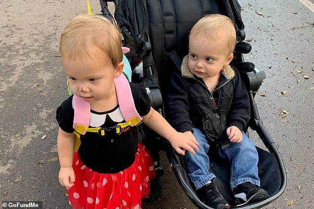 His parents are raising money to fund research for genetic replacement therapy and a clinical trial, which could cost as much as $7million. Pictured: Maxwell (right) with his twin sister, Riley
