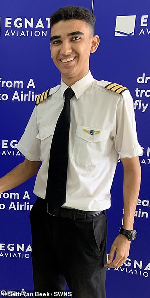 Seth Van Beek, 18,has become the UK's youngest qualified commercial airline pilot