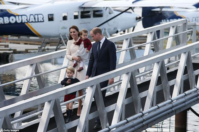 Prince William, Catherine, a younger Prince George and Princess Charlotte were pictured at Victoria Harbour in 2016 walking down the same ramp as Meghan Markle was pictured Tuesday