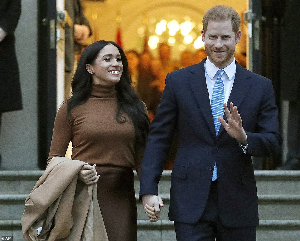 Amongst other things, Meghan accused her father of breaking her heart, manufacturing pain, being paranoid, being ridiculed, fabricating stories, of attacking Prince Harry and continually lying' (pictured:Harry and Meghan leave after visiting Canada House in London a week ago)