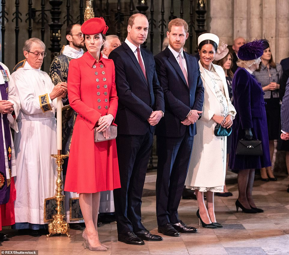 The friend credits the claim that Harry (center right) was offended by his older brother Prince William (center left with his wife Kate) warning him to move too quickly in his relationship with actress Meghan (a right)