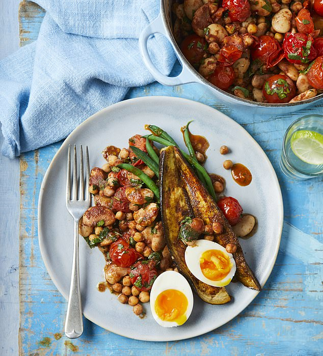 The butterbean stew with spiced aubergines and soft-boiled egg takes 25 minutes to cook