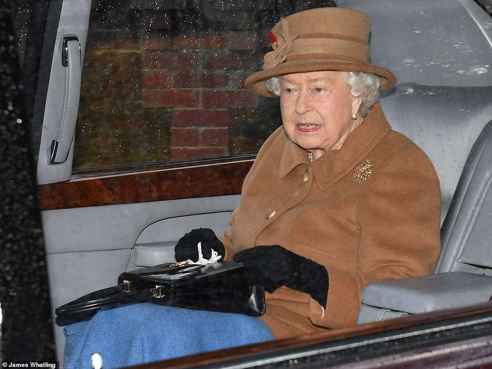 The queen (pictured attending Sandringham church on Sunday) made clear her profound disappointment at Harry and Meghan's decision to stop in a statement released yesterday