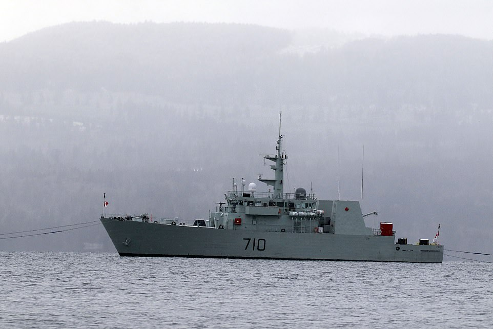 The moored ship of the Canadian Navy HMCS Brandon just a quarter mile from the sea, which belongs to a mysterious billionaire who refuses to be identified