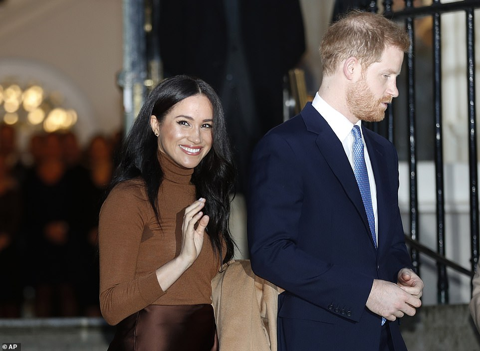 Prince Harry and Meghan, Duchess of Sussex, leave after visiting Canada House in London after their recent stay in Canada on January 7