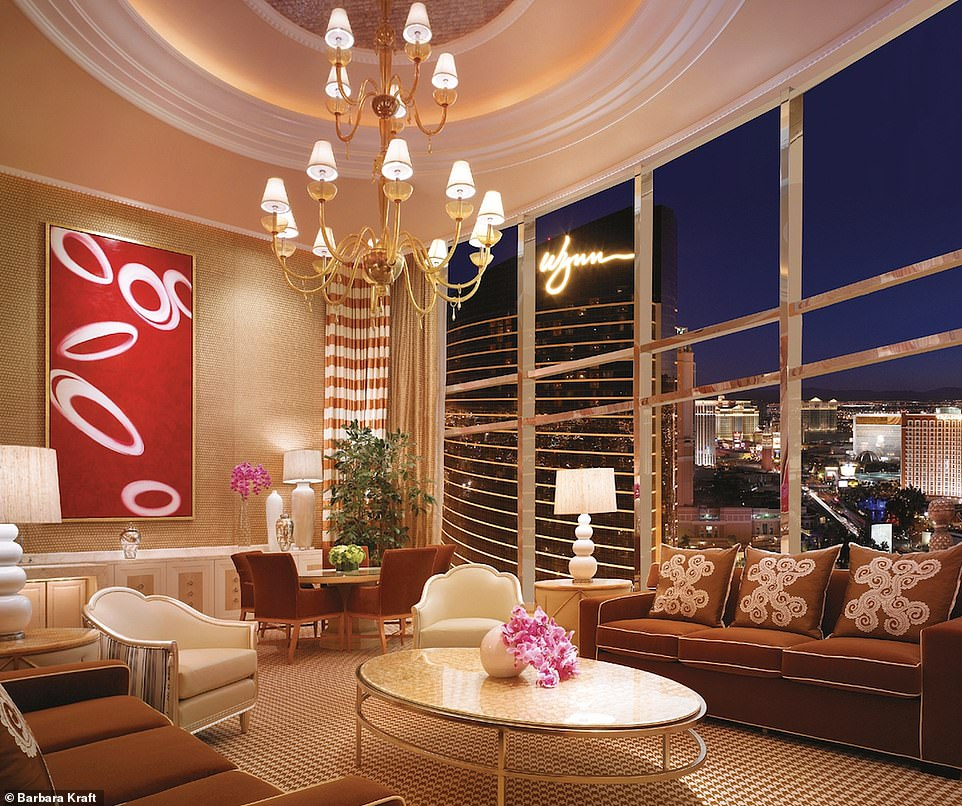 The three-bedroom duplex at the Encore at Wynn Las Vegas has a 'homey feel' with three bedrooms,a billiards room, a massage room and a fitness room. A one-night stay starts from $4,000 (£3,000)
