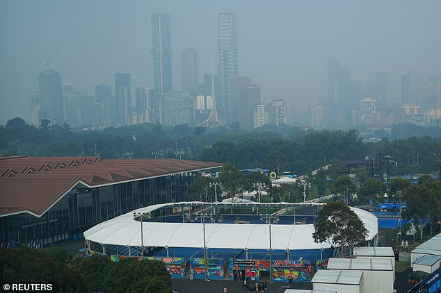A general view is seen of smoke haze from bushfires at Melbourne Park, venue of the Australian Open practice sessions, in Melbourne today