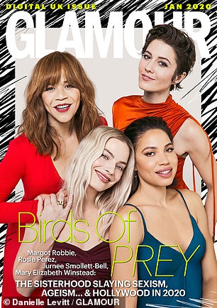 Mary also spoke about her new film - Birds Of Prey - and how the production was run by and starred mostly women [pictured with co-stars Margot Robbie, Jurnee Smollett-Bell and Roise Perez]