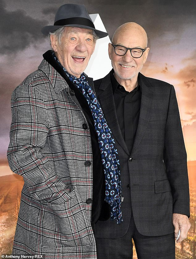 In a good mood: Sir Ian had a bright smile on his face as he posed next to his close friend.