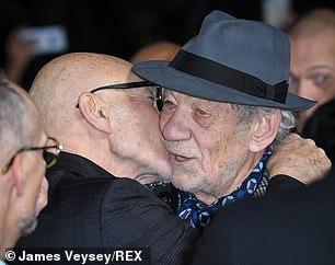 Greeting: Sir Patrick kissed him on the cheek and hugged him.